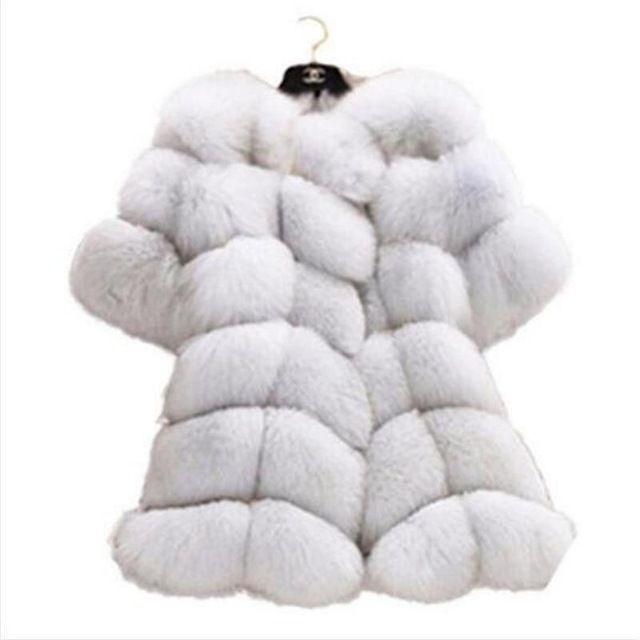 2016 de Style Européen Cinquième Manches Nouveau femmes fourrure manteau court paragraphe imitation fourrure de renard et de longues sections manteau en fausse fourrure 6XL
