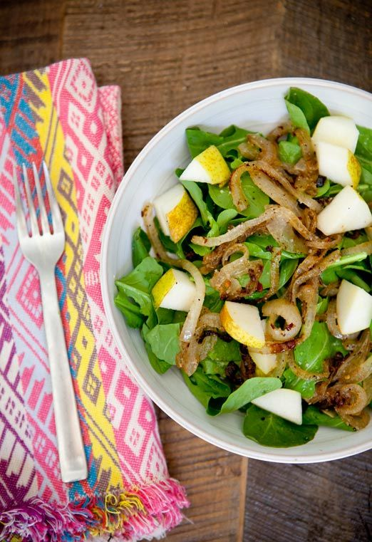 *****caramelized onion and pear salad; I absolutely adored this salad. I barely needed any dressing. Next time dress with lemon juice as suggested, I think it will help combat the sweetness from the pear and onion.