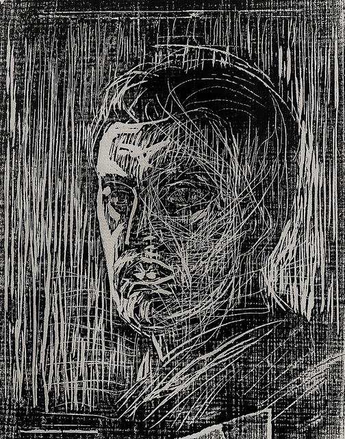 Edvard Munch, woodcut, self portrait facing left