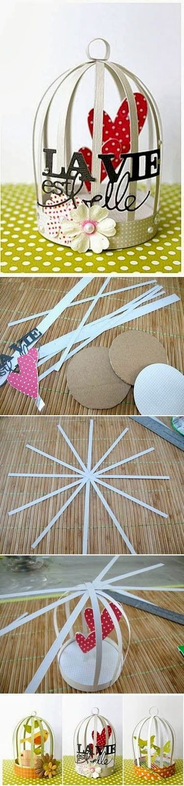 My DIY Projects: How To Make Mini Decorative Cage. Could use a round lid for the base.: