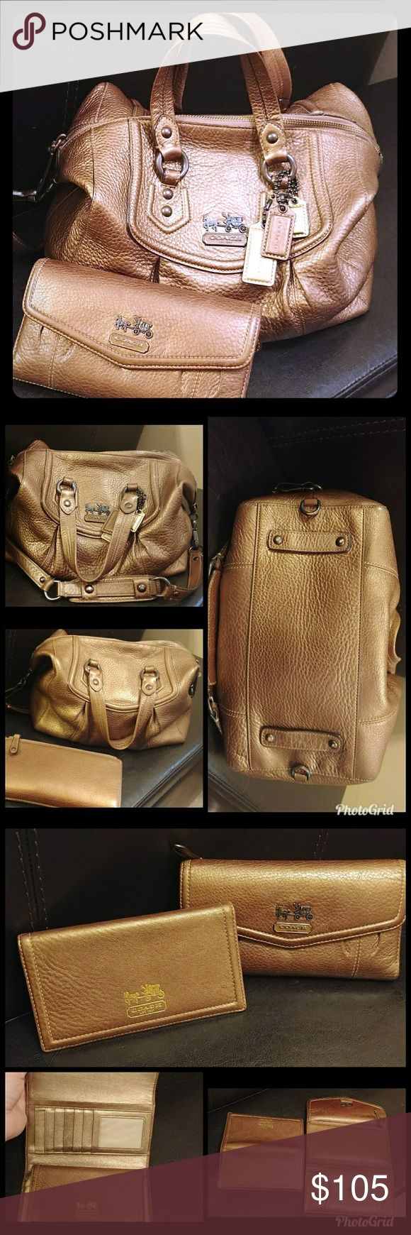 """Coach Madison Audrey bronze bag w/ matching wallet VGUC beautiful bronze leather set! Minor signs of wear shown in photos. All of these flaws are minor and do not effect function or beauty. Inside is pretty clean with slight discoloration, mostly along zipper. There are no tears, broken hardware, etc. The shoulder strap is removable to convert to satchel or you can fasten the shoulder strap through the loops on the bottom of the purse. Three hangtags are included. ☺ approx meas: 13x11""""…"""