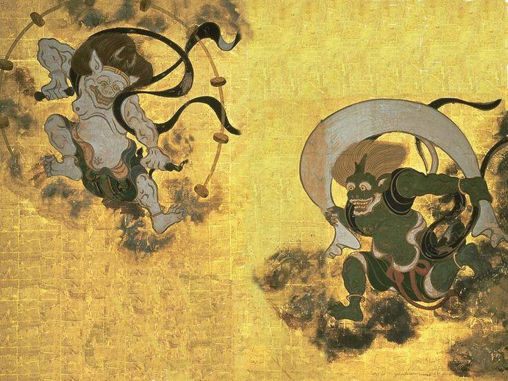 Fujin=God of Wind (Right)  Raijin=God of thunder