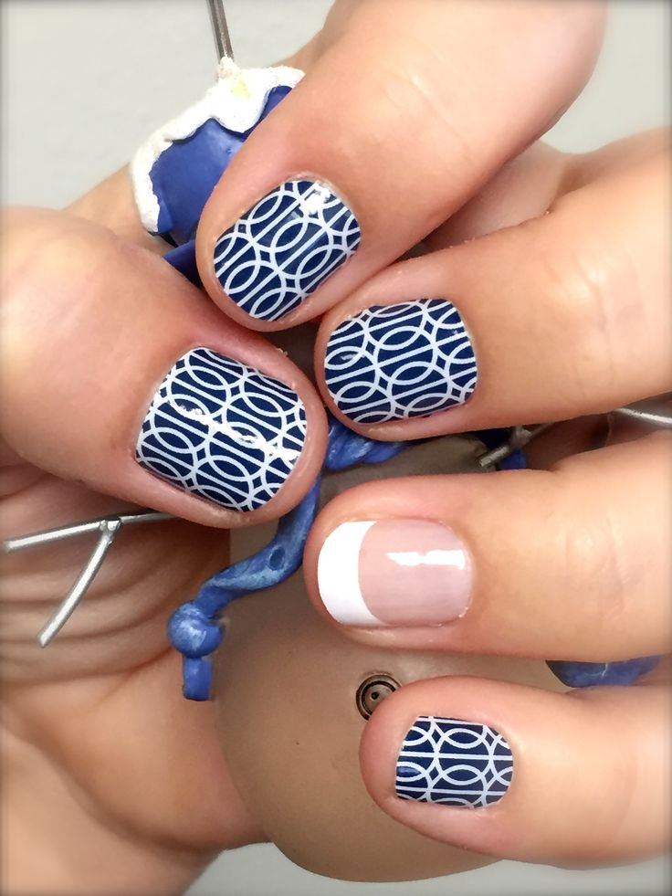 #Jamberry Nails, Mad Mod with White French Tip accent nail (tip length M). Loved wearing this set! #MadModJN #FrenchTipJN