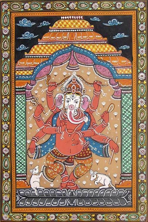 Dancing Ganesha (Orissa Paata Painting on Tussar Silk - Unframed))