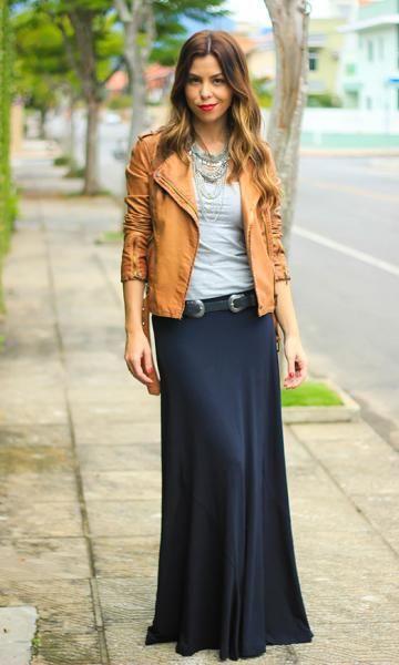 Inspiração - Saia longa preta + camiseta cinza + jaqueta marrom!