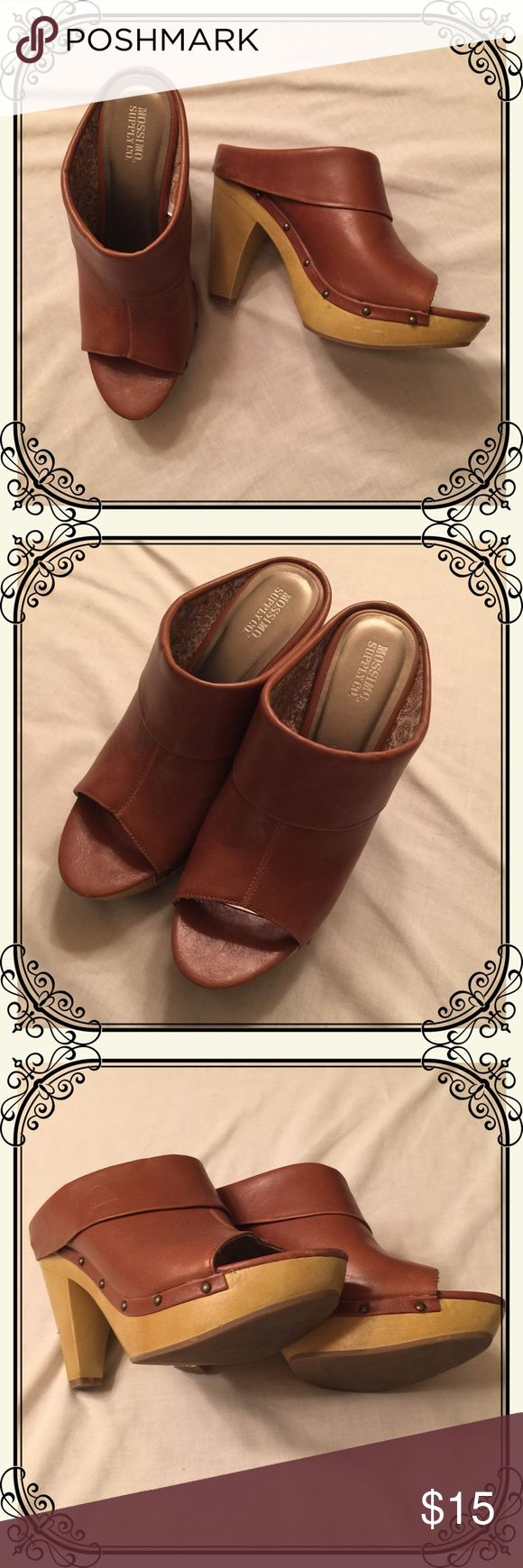 Brown high heel mule wedge clogs Stylish high heeled brown mule wedge clogs. Very gently worn, excellent condition. Great with jeans or boho looks! Mossimo Supply Co. Shoes Mules & Clogs
