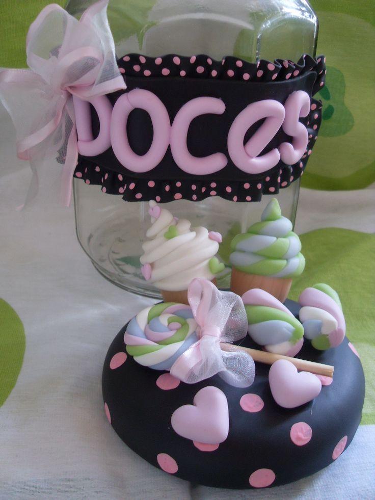 Frasco decorado caramelera con dulces