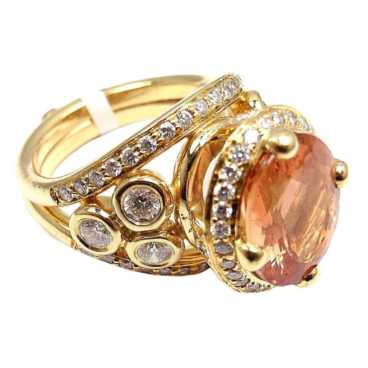 TEMPLE ST. CLAIR Imperial Topaz Diamond Yellow Gold Ring | From a unique collection of vintage cluster rings at http://www.1stdibs.com/jewelry/rings/cluster-rings/