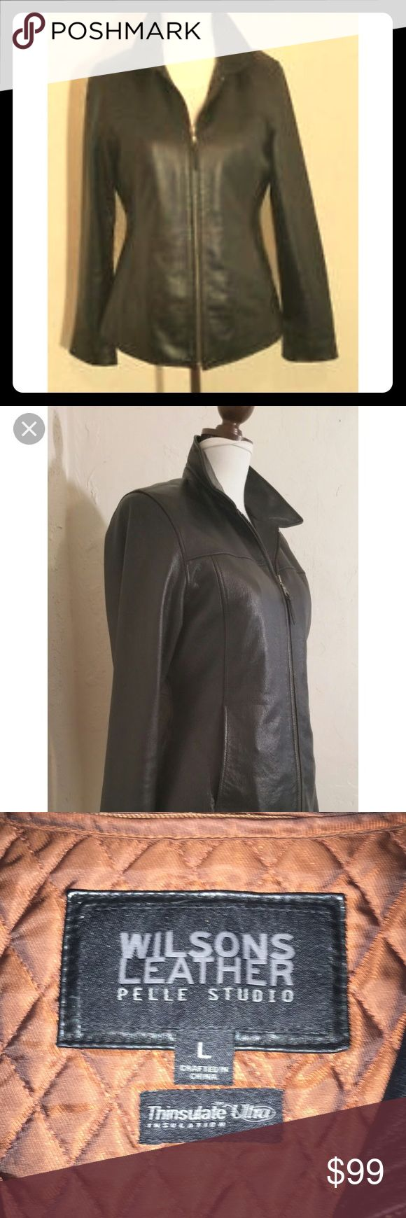 SAle Wilson's Leather Jacket with Removable Lining Never worn women's Wilsons Leather jacket with removable thinsulate lining that can be zipped in or out for extra warmth! Size large!! Wilsons Leather Jackets & Coats Blazers
