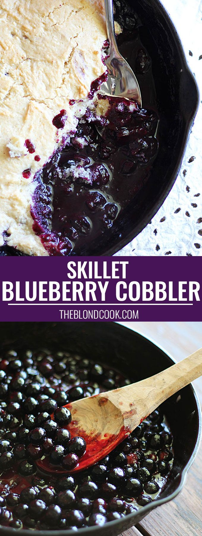 Blueberry Cobbler prepared in a cast iron skillet -- so easy and delicious!!!