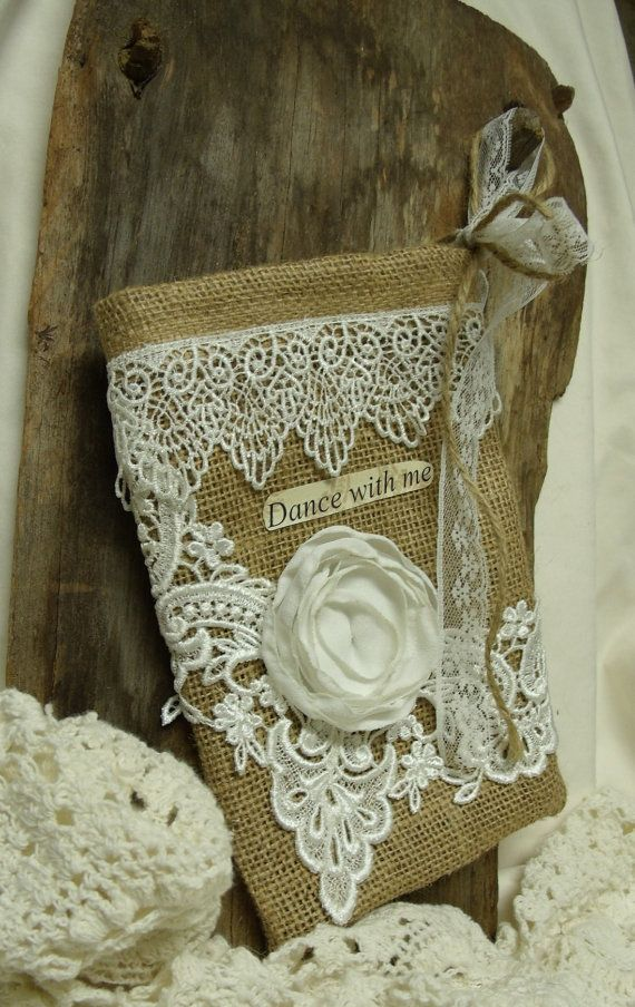 Burlap Bridal drawstring bag Dance With Me French Country Rustic Wedding dollar dance bag Venice Lace