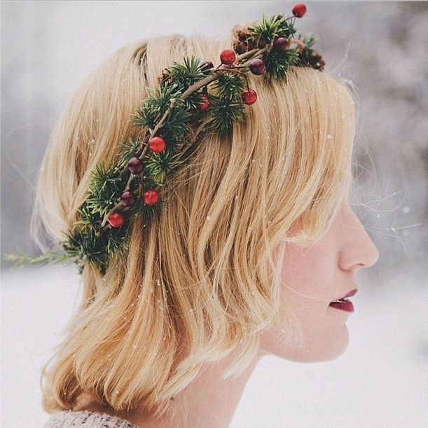 Instagram's Most Gorgeous Holiday Beauty Looks To Copy #refinery29.... Toss a spruce headband onto your 'do for a fun, festive accent. Plus, it's killer with that red lip of yours.