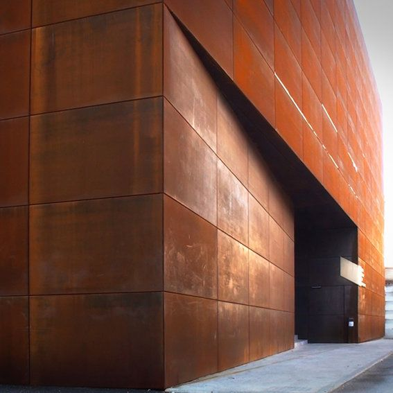 "Giancarlo PARTENZI - CIAC (Italian Centre of Contemporary Art).  parallelepiped covered in steel type ""corten"" that confers to the volumes the classical rust color of the material."