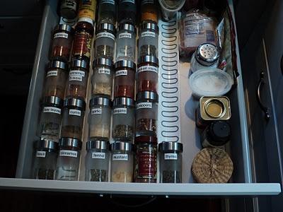spice storage idea. Ikea drawer organizer and spice bottles