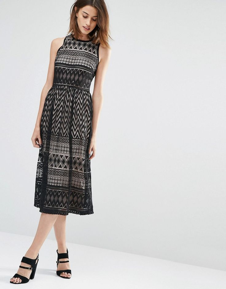 Image 4 of Warehouse Paneled Lace Midi Dress