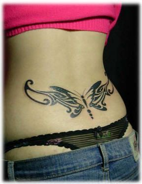 awesome Friend Tattoos - nice Friend Tattoos - Lower back butterfly tattoo......