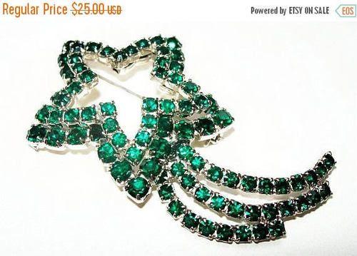 Green Shooting Star Brooch Round Rhinestones Layered Silver #jewelry