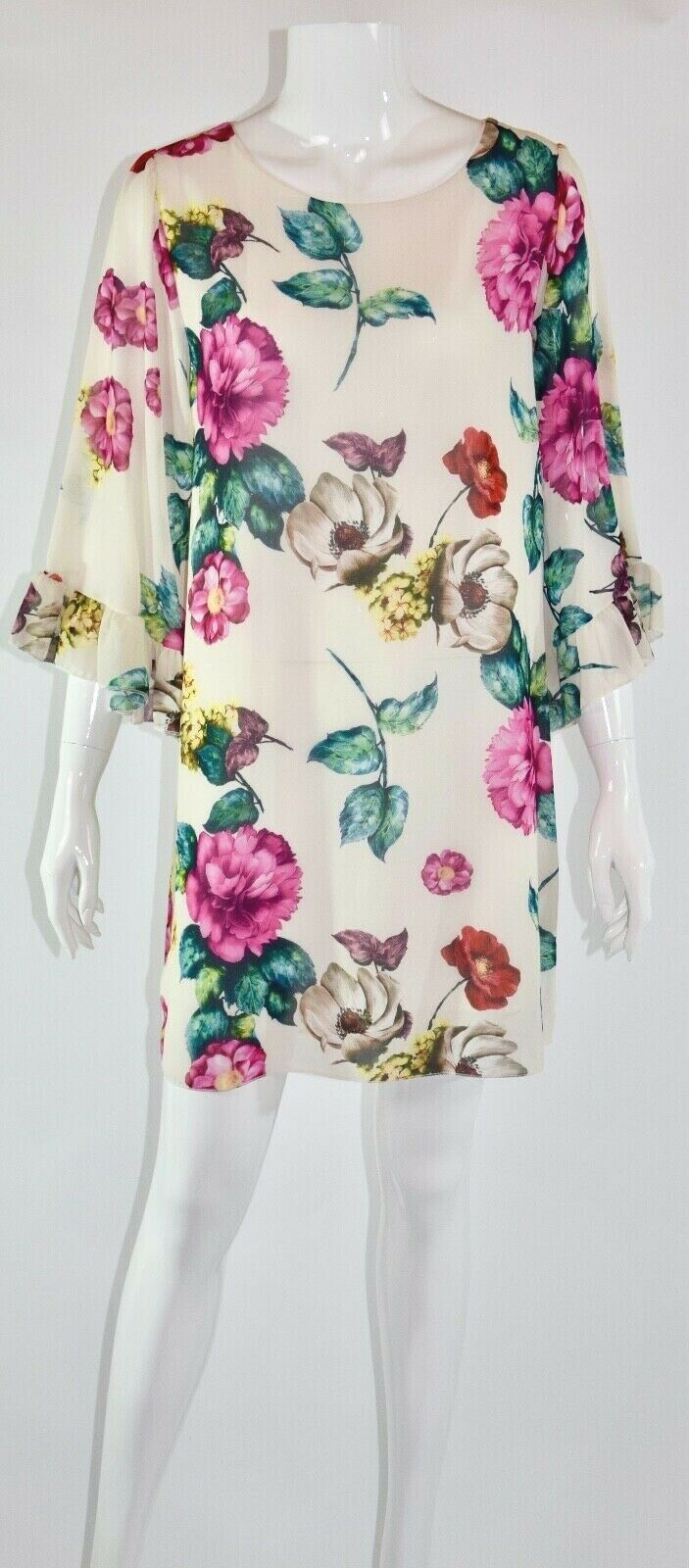 Kleid Damen mit großem Blumenprint weiss/beige Mode aus Italien