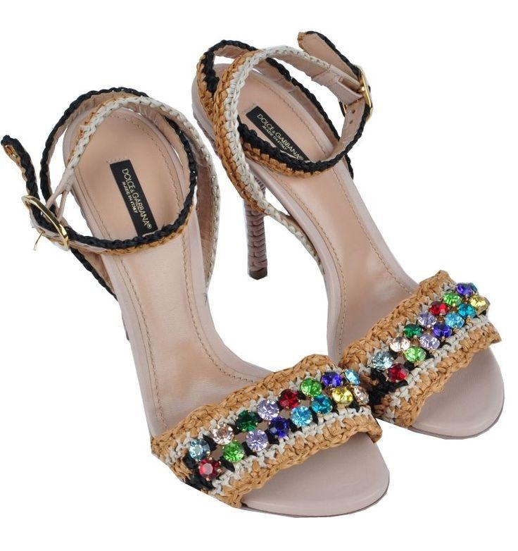 DOLCE & GABBANA RUNWAY Strass Sandalen Braun Sandals Shoes Brown Sandales 03000