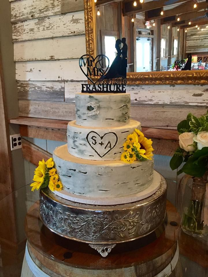 Rustic Birch Wood Wedding Cake Designed By Incredible Edibles Virginia Beach