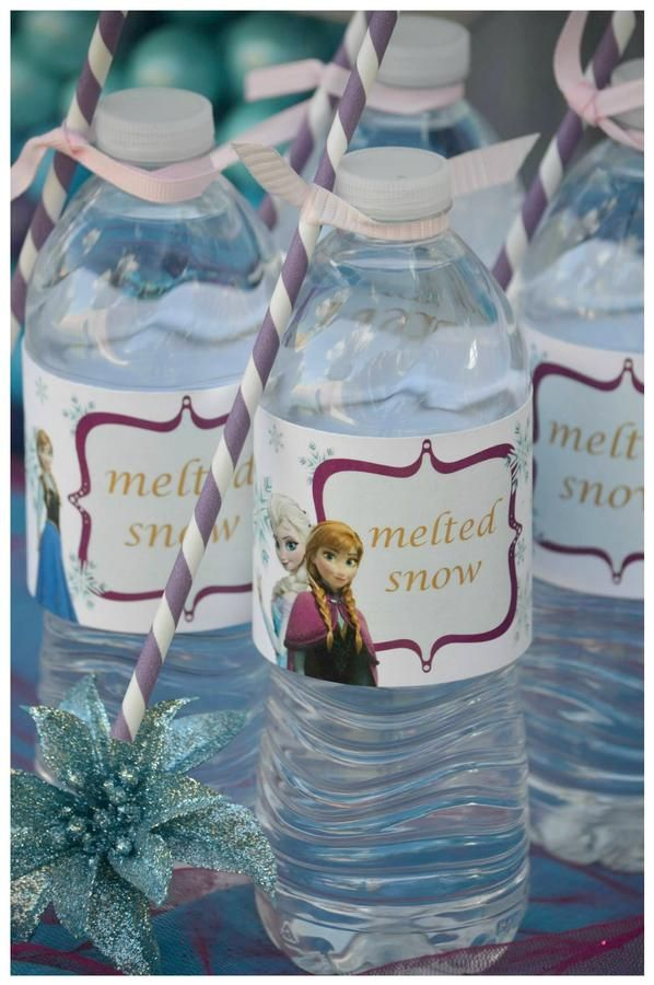 "Frozen Birthday Party Ideas: ""melted snow"" labels for water"