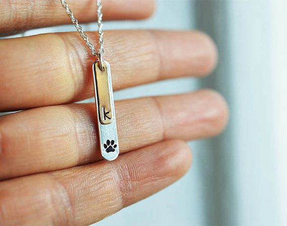 Dog paw necklace Paw print necklace Pet jewelry by LinasClassics