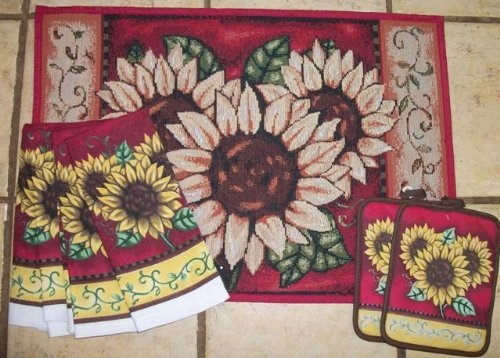 Sunflower Kitchen Rug With Matching Kitchen Towels And Pot Holder:  Http://www