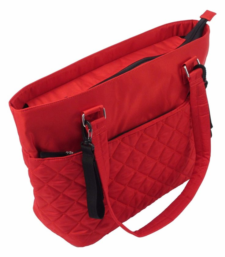 Summer Infant Quilted Tote Changing Bag (Red / Ruby) — £29.99 Features: Insulated bottle pocket, with additional plastic lined bottle pocket. Main zip top compartment with two large elastic storage pockets. Changing pad included. Two removable pushchair/stroller attachment straps. Two large zipper side pockets.