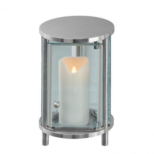 Moderne Runde Edelstahl Grablampe »Nora« • Hochwertiger Edelstahl & Schmiedearbeit • Jetzt versandkostenfrei kaufen bei ▷ Serafinum.de