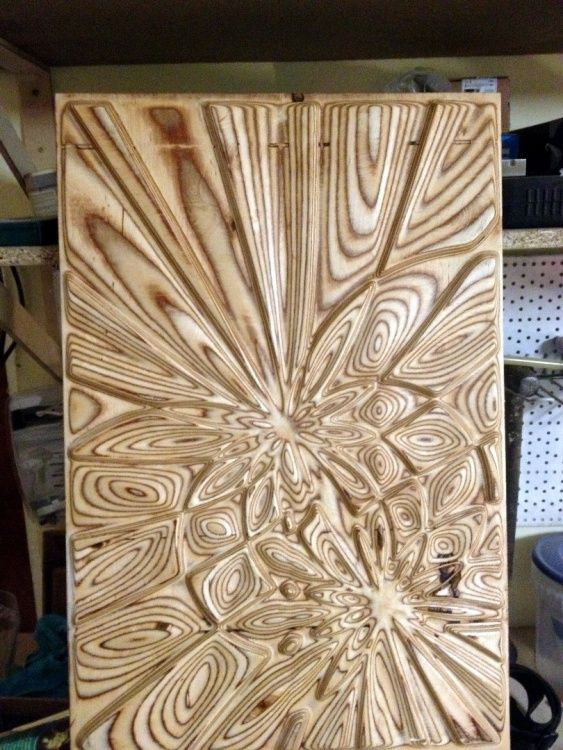 Plywood explosion (Design),  40x60x1.2 cm by Andrius Saras Generative surface artwork
