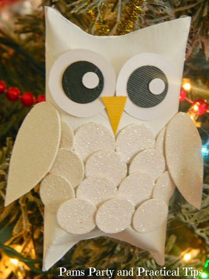 MENTŐÖTLET - kreáció, újrahasznosítás: Hóbagoly karácsonyfadísz