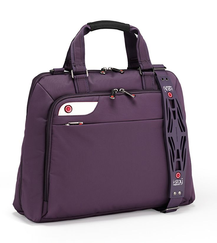 i-stay Ladies Laptop bag in Purple is0126 Finally a stylish laptop bag for ladies! The i-stay ladies laptop case is the ideal business bag for ladies on the move. It not only features a fully padded laptop compartment for laptops up to 16 inches, it also has an internal neoprene pocket for tablets up to 11 inches. The large front zip pocket has a fantastic organiser section and the case is complimented by the i-stay non-slip bag strap which has been commended by the College of Chiropractors.