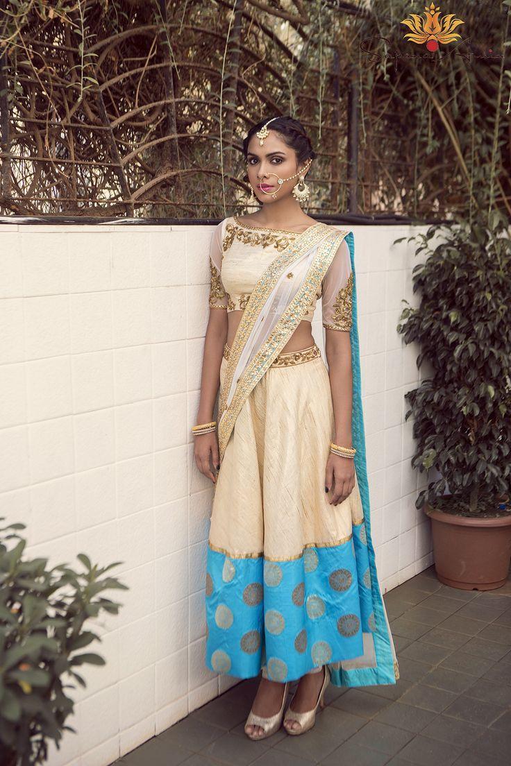 Ivory & Turquoise Lehenga - waliajoness - 1 - silk blouse womens, blouses & shirts, blue womens blouse *ad