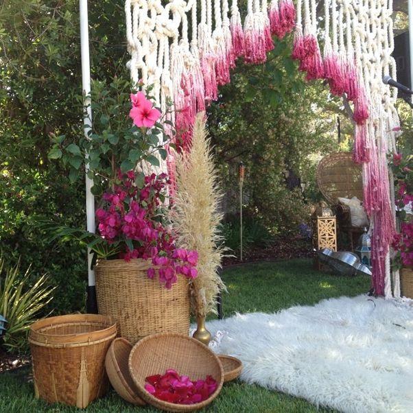 Bohemian wedding - decoração macrame