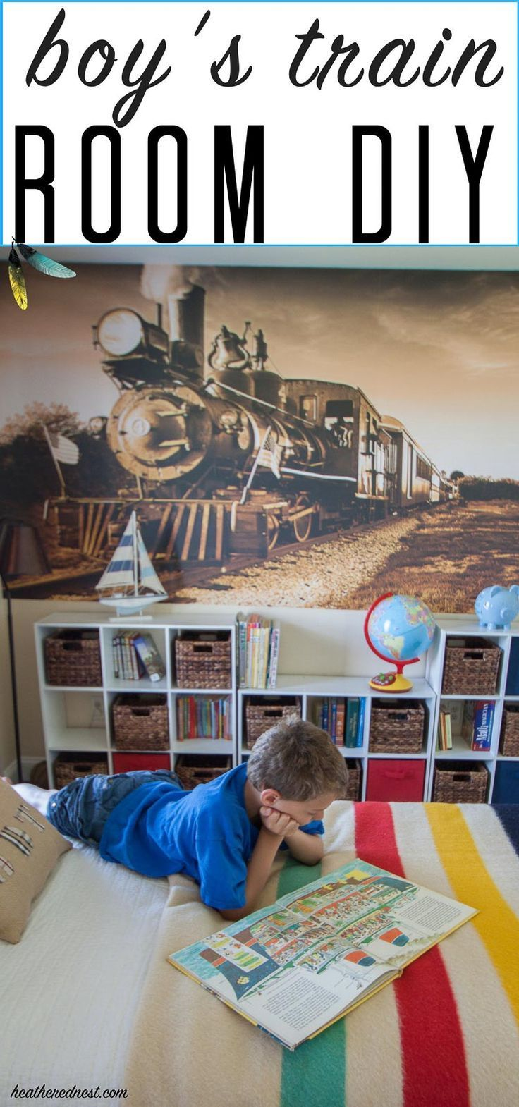 boys DIY room with transportation and train theme from http://heatherednest.com
