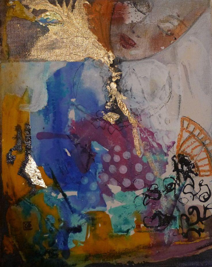 """art contemporain original décoration peinture abstraite techniques mixtes mini toile:""""félicité"""" : Peintures par cyane"""