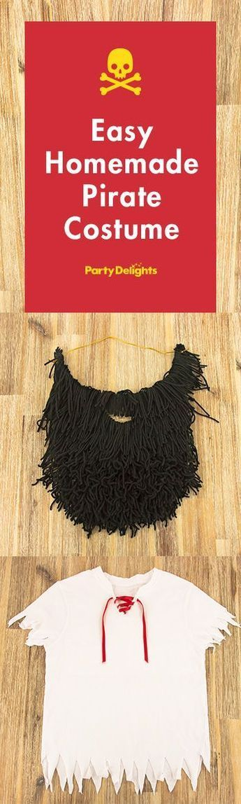 Find out how to make these easy homemade pirate costume using an old t-shirt and some black wool for the beard!