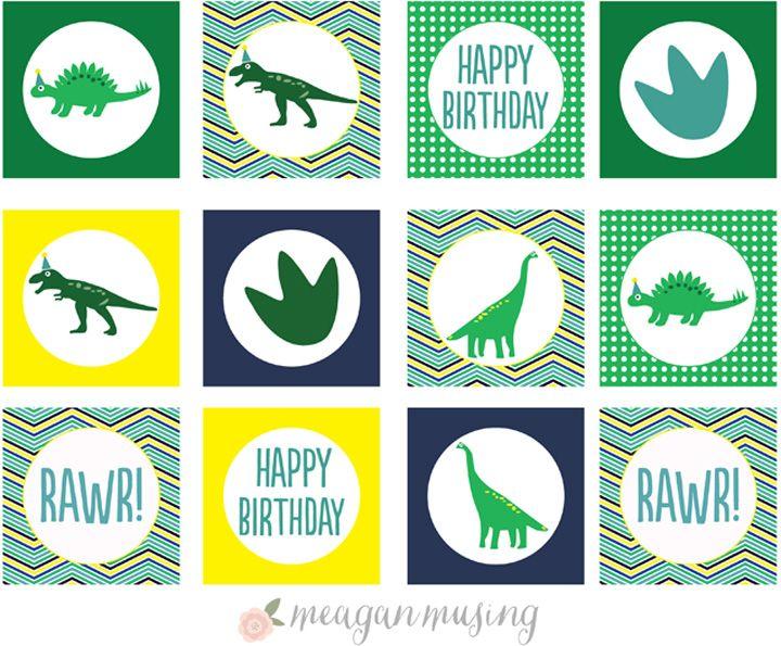 Círculos do partido do dinossauro Printable // MeaganMusing