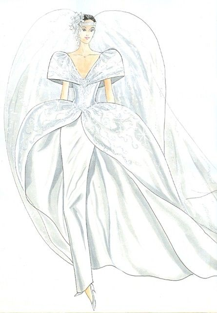 PH 60105.3. Fashions created by haute couturier, Victoria Cascajo, for her Toorak boutique, Balencia. Sketch undertaken by artist Mrs Lin Phillips; c.1980s.