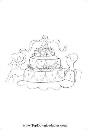 Cake Wedding Coloring Page