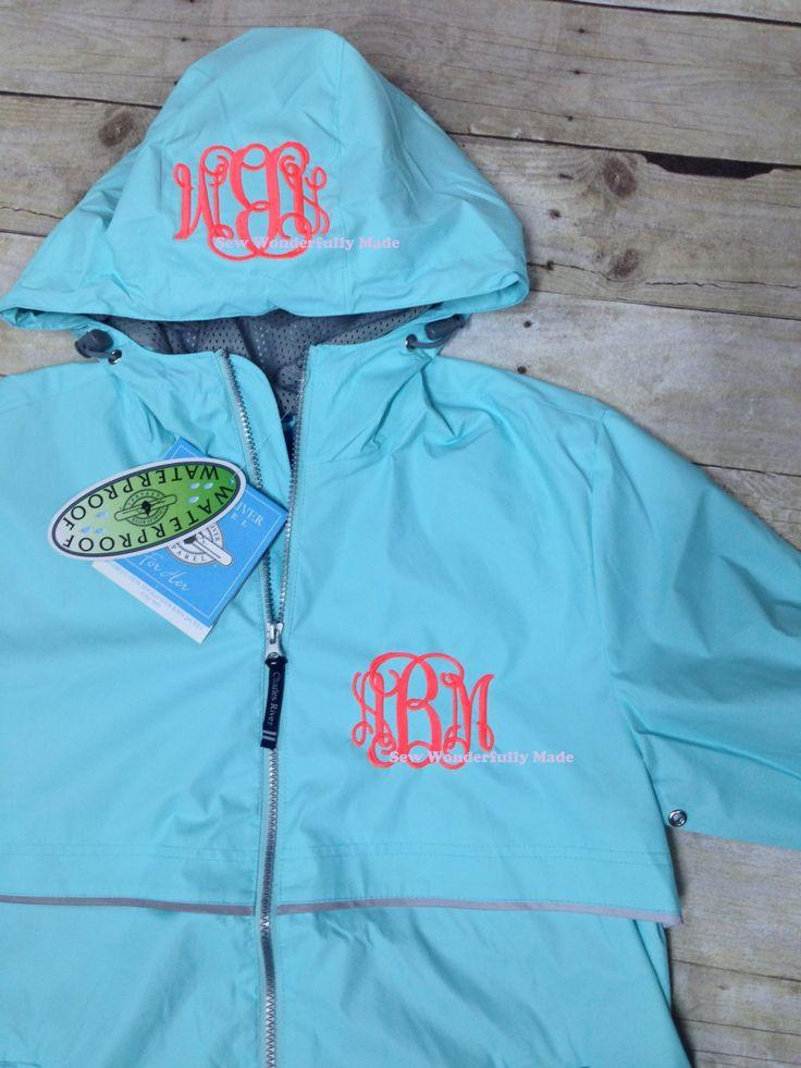 Monogrammed Rain Jacket - Charles River Rain Coat - Women's Rain Coat - Hood Monogram - Monogrammed Birthday Gift - Monogrammed Wedding Gift by SewWonderfullyMade4U on Etsy https://www.etsy.com/listing/197191207/monogrammed-rain-jacket-charles-river