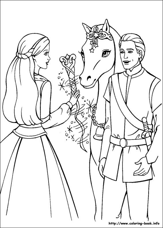 barbie and the magic of pegasus coloring picture - Barbie Coloring Sheets