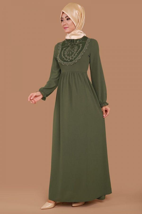 Göğsü Güpür Detay Elbise Haki Ürün Kodu: MDB3836 --> 79.90 TL