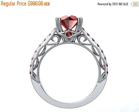 Ruby Engagement Ring 14kt White Gold Round 65mm Pigeon Blood Ruby Engagement Ring Wedding Ring