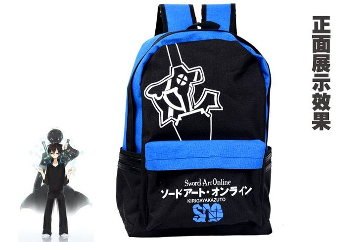 26.99$  Buy now - http://ali6x7.shopchina.info/go.php?t=32791115129 - Characteristic backpack Sword art online SAO blud and black color elucidator pattern printing  daily backpack anime bag AB143  #buychinaproducts
