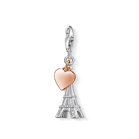 A THOMAS SABO Charm for true lovers of the city of love: the landmark of Paris with a cute heart in rose gold plating.