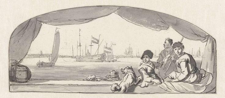 Ludolf Bakhuysen   Gezicht op een haven met op de voorgrond vissers met een hond, Ludolf Bakhuysen, c. 1641 - c. 1708   Ontwerp voor een wanddecoratie.
