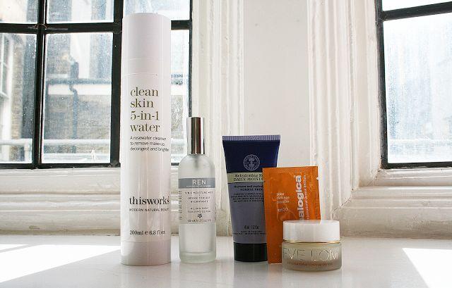 This Works Clean Skin 5-in-1 Water, Ren Moisture Mist, Neal's Yard Rehydrating Rose Moisturiser, Dermalogica 30 spf Skin Booster, Eve Lom Hy...