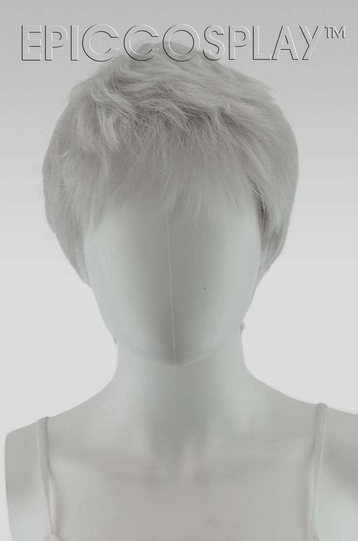 """Hermes Silvery Grey Pixie Hair   The 12"""" short Silvery Grey pixie hair hasnaturally feathered layers all throughout, giving it a textured"""