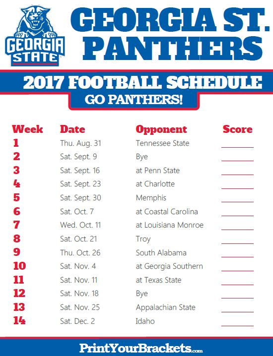 2017 Georgia State Panthers Football Schedule